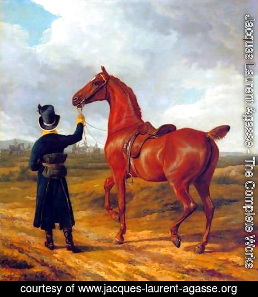 Jacques Laurent Agasse - Lord Rivers' Groom Leading a Chestnut Hunter towards a Coursing Party in Hampshire