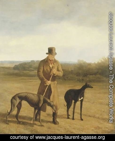 Jacques Laurent Agasse - Portrait of Lord Rivers with two Greyhounds