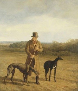 Portrait of Lord Rivers with two Greyhounds