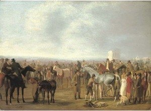 Jacques Laurent Agasse - A Race Meeting at Epsom
