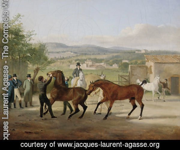 A stallion being led to a mare in a stable yard, a landscape with villas beyond
