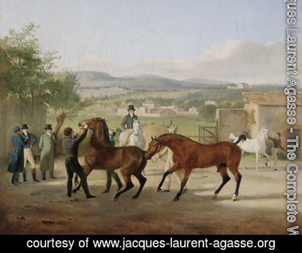 Jacques Laurent Agasse - A stallion being led to a mare in a stable yard, a landscape with villas beyond