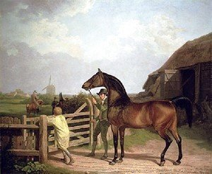 Jacques Laurent Agasse - Bay Ascham   A Stallion Led Through A Gate To A Mare