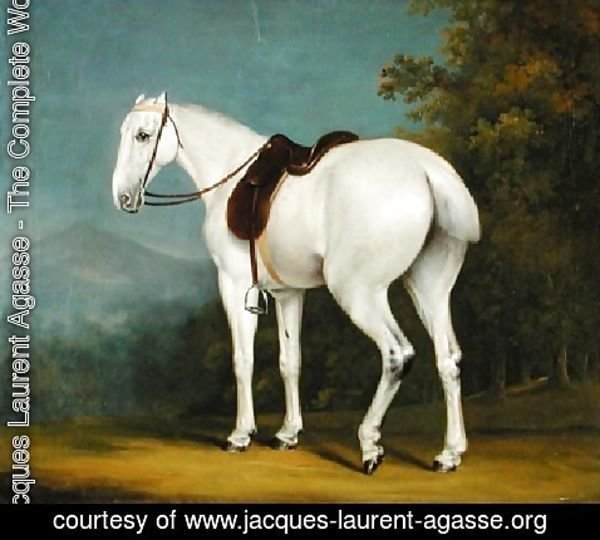 Jacques Laurent Agasse - A Ladys Grey Hunter