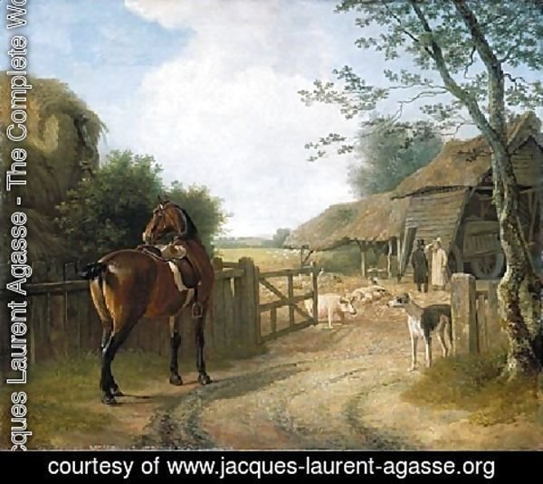Jacques Laurent Agasse - Daniel Beale At His Farm At Edmonton With His Favourite Horse